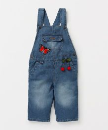 Eimoie Casual Solid Denim Dungaree With Patch - Blue