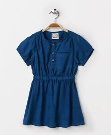 Eimoie Elasticated Waist Flare Casual Dress - Blue