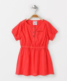 Eimoie Elasticated Waist Flare Casual Dress - Coral Red
