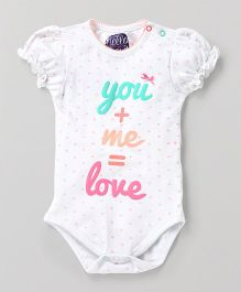 Eimoie Half Sleeves Printed Onesie - White