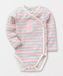 Eimoie Full Sleeves Crossover Printed Onesie - Multicolor