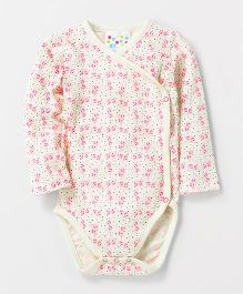 Eimoie Full Sleeves Crossover Printed Onesie - Off White