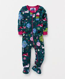 Eimoie Full Sleeves Printed Footed Romper - Teal & Pink