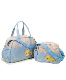 Diaper Bag Duck Patch With Changing Mat Set of 2  - Cream  Sky Blue