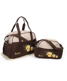 Diaper Bag Duck Patch With Changing Mat Set of 2  - Cream & Brown