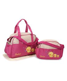 Diaper Bag Duck Patch With Changing Mat Set of 2  - Cream Dark Pink