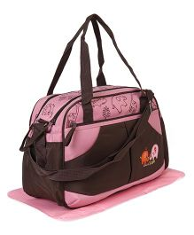 Diaper Bag Elephant Patch With Changing Mat - Brown Pink