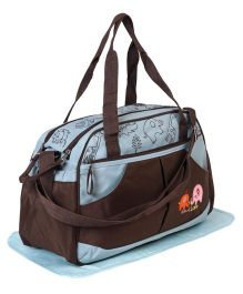 Diaper Bag Elephant Patch With Changing Mat - Brown Blue