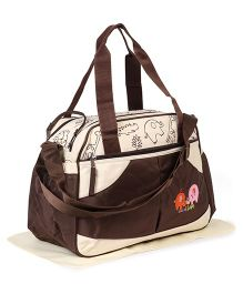 Diaper Bag Elephant Patch With Changing Mat - Cream Brown