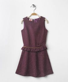 UFO Sleeveless Dress With Bow - Maroon