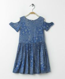 UFO Printed Cold Shoulder Denim Dress - Indigo
