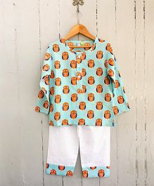 Frangipani Kids Owl Print Night Suit - Sea Green
