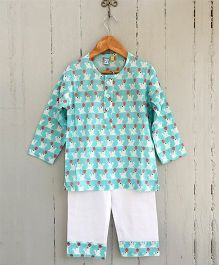 Frangipani Kids Circus Seal Printed Night Suit - Light Blue