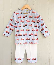 Frangipani Kids Fire Truck Print Night Suit - Blue & Red