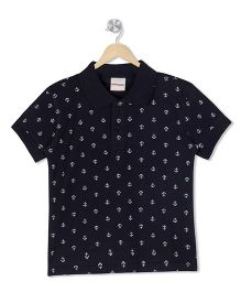 Raine And Jaine Anchor Print Polo Tee - Navy