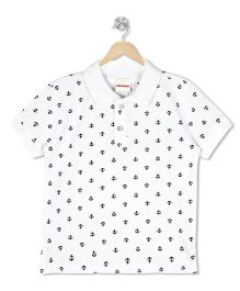 Raine And Jaine Anchor Print Polo Tee - White
