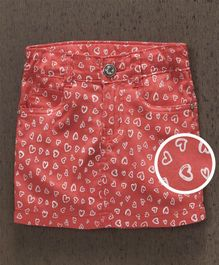 Babyhug Heart Print Skirt With Adjustable Waist - Coral