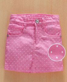 Babyhug Skirt With Adjustable Elastic Allover Polka Dot Print - Light Pink