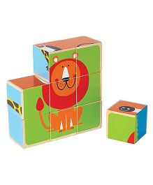 Hape Zoo Animals Block Puzzle Multicolour - 9 Blocks