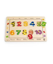 Hape Number Matching Pegged Puzzle Multicolour - 10 Pieces