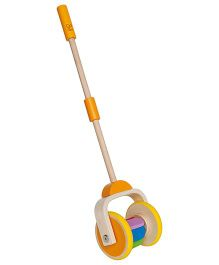 Hape Wooden Rainbow Push & Pull Walking Toy - Multicolor