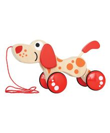 Hape Walk-A-Long Wooden Puppy - Red