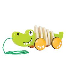 Hape Walk-A-Long Wooden Croc - Green