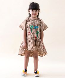 Tiber Taber Heartfelt Checks Dress With Detachable Toys - Brown