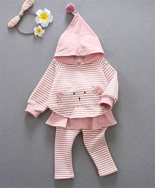 Pre Order - Awabox Striped Hoodie With Pants - Pink