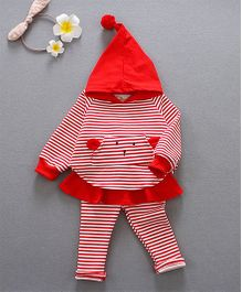 Pre Order - Awabox Striped Hoodie With Pants - Red