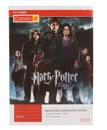 Kokuyo Camlin Single Rule Notebook Harry Potter Theme Red - 140 Pages