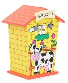 House Shaped Wooden Money Bank Cow Design - Yellow & Orange