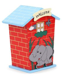 House Shaped Wooden Money Bank Elephant Design - Red & Sky Blue