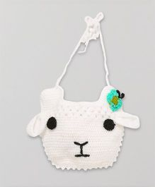 Mayra Knits Sheep Face Bib - White