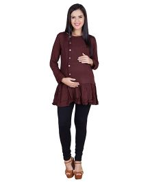 Blush 9 Full Sleeves Maternity Nursing Tunic With Frill - Brown