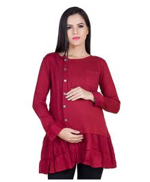 Blush 9 Full Sleeves Maternity Nursing Tunic With Frill - Maroon