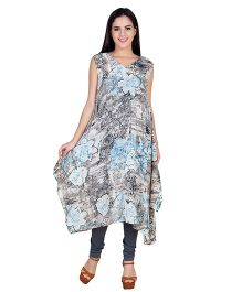 Blush 9 Sleeveless Maternity Tunic Floral Print - Grey & Blue