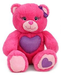 Reliance Gem Bear Soft Toy With Glitter Heart Pink - Height 25cm