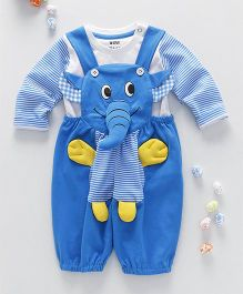 Wow Clothes Elephant Applique Dungaree With T-Shirt - Blue
