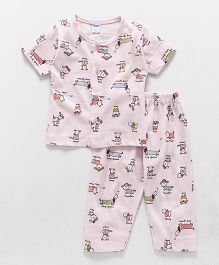 Tango Half Sleeves Night Suit Puppy Print - Pink