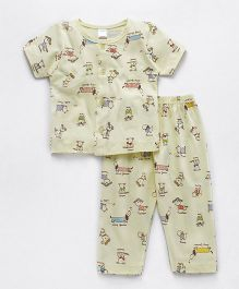 Tango Half Sleeves Night Suit Puppy Print - Yellow