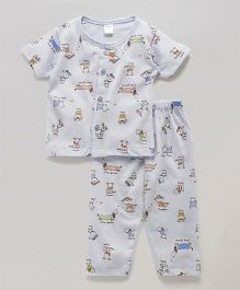 Tango Half Sleeves Night Suit Puppy Print - White
