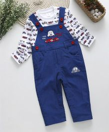 ToffyHouse Corduroy Dungaree With Full Sleeves Car Print T-Shirt - Royal Blue
