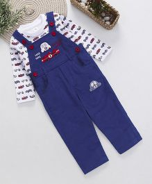 ToffyHouse Dungaree With Full Sleeves Car Print T-Shirt - Royal Blue