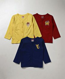 Babyhug Full Sleeves Vest Pack of 3 - Maroon Navy & Yellow