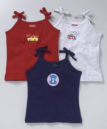 Babyhug Singlet Cotton Slips Pack of 3 Monkey Print - Maroon Navy Grey