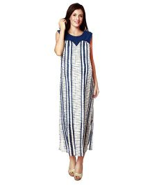 Nine Sleeveless Maternity Nursing Dress Printed - Blue