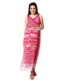 Nine Singlet Sleeves Maternity Nursing Dress Printed - Pink