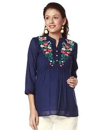 Nine Three Fourth Sleeves Maternity Nursing Tunic Embroidered - Navy