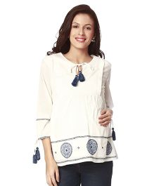 Nine Three Fourth Sleeves Maternity Nursing Top Embroidered - White